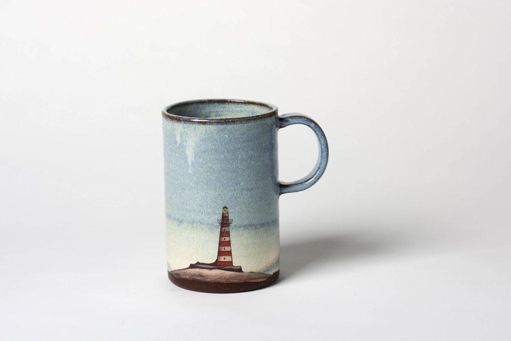 Tall Blue Lighthouse Mug, ~8 x 12cm, £26 + postage