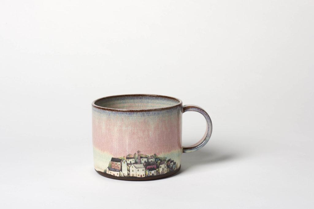 Wide Pink Village Mug