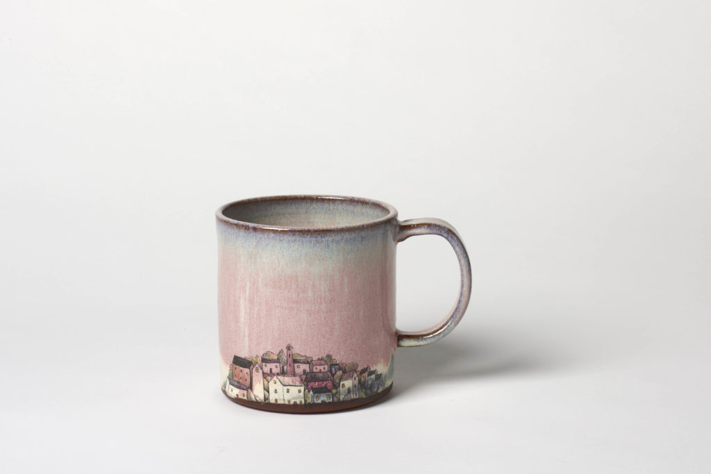 Pink Village Mug,  ~8.5 x 8.5cm,  £22 + postage
