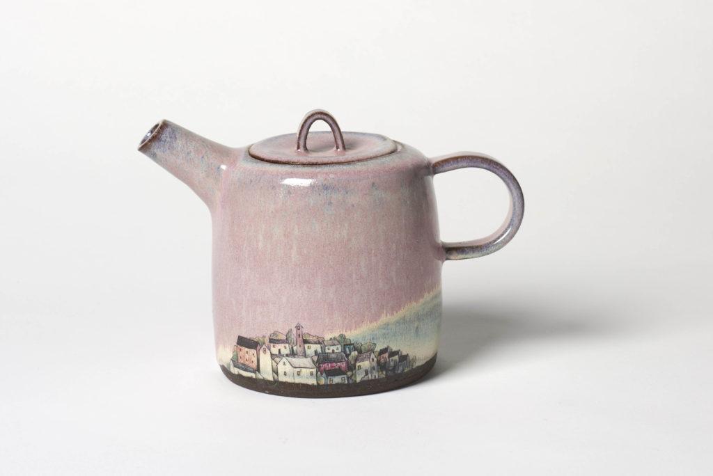 Pink Village Teapot