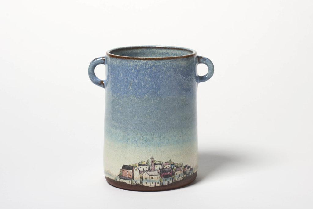 Blue Village Vase Pot, ~11 x 14cm, £40 + postage