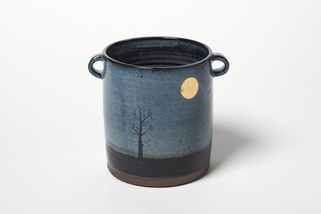 Dark Blue Moon Vase, ~11 x 14cm, £40 + postage